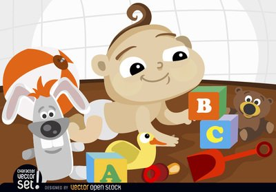 Cartoon baby playing with toys