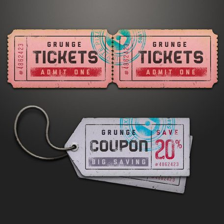 Ticket Coupon verkoop Tag Psd