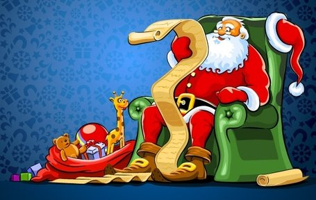Interesting Santa Vector. Santa reading the list of christmas presents