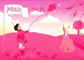 Pink Girl And Rabbit