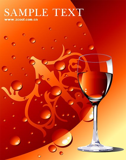 Red wine glass with water drops