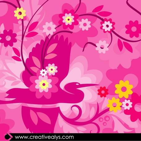 ILLUSTRATION.eps VECTOR floreale rosa