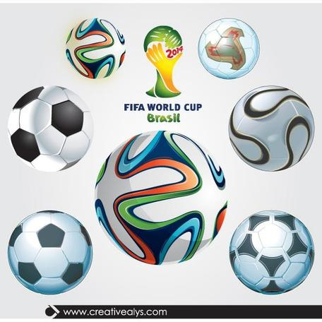 WORLD CUP SOCCER BALLS vecteur SET.ai