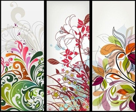 Vector Vertical Floral Banners