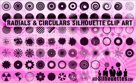 90 Radials & Circulars Silhouettes Clipart