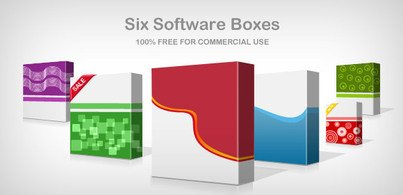 3D Software-Box: 6 Muster (Free PSD)