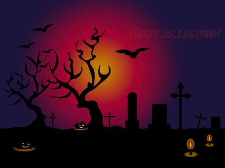 Halloween Cemetery Background with Tombs Vector Free