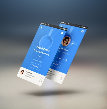 Perspektive App Bildschirme Mock-up 7