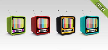 Free PSD Retro TV Icons