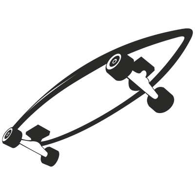 Black & White Roller Skateboard Sketch