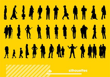 People silhouette Vector various material