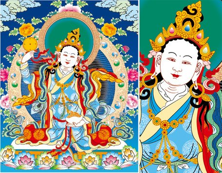 Thangka Renzo mother to three rows of empty vector AI
