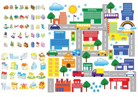 Cartoon Building Icon - Vector Material Cartoon Architecture Icons