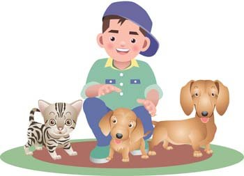 Boy and dog vector 3
