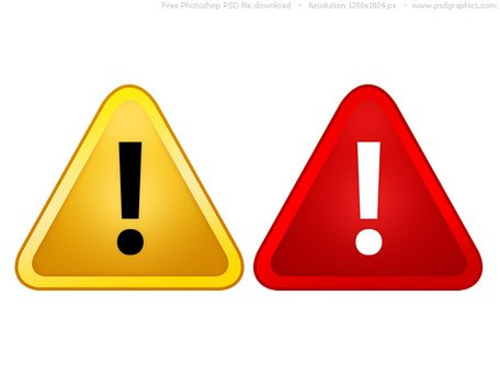 PSD red and yellow warning signs