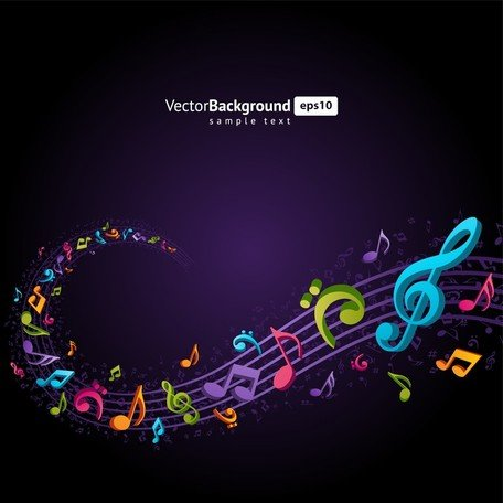 Thema muziek notities Vector 4