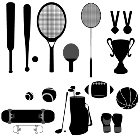 Vector Sport Stuffs - honkbal, basketbal, Cup, Golf, medaille, Racket, Skateboard