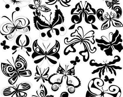 Black And White Butterfly-Element