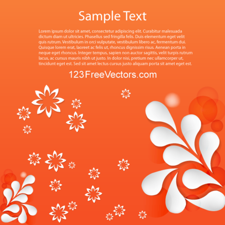 Vector Floral Abstract Background Design with White Flowers