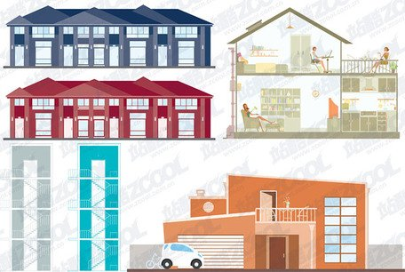 4, vector illustrations simple building material