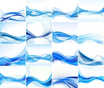 Stylish Blue Abstract Background Set with Lines