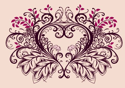 Peach heart, lace, flowers, heart-shaped, material