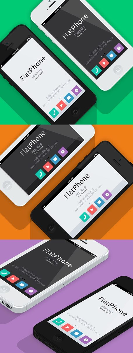 iPhone 5 Psd Flat Design Mockup