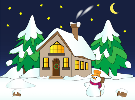 Free Vector Christmas Winter Landscape with House In Snow, Snowman and Pine Trees