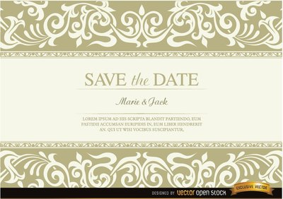 Wedding invitation with floral fringes
