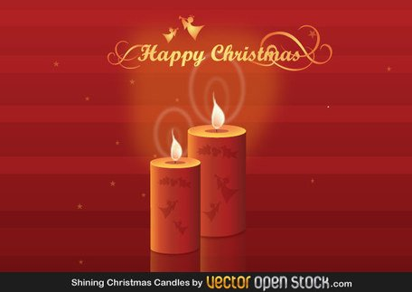 Christmas Candles on Red Background Vector Free