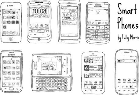 Free Hand Drawn Smart Phone Vectors