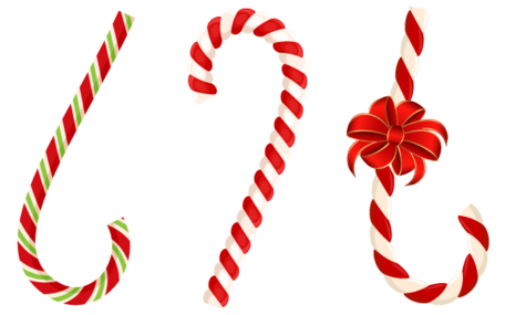 Free Vector Christmas Candy Cane with Red Bow