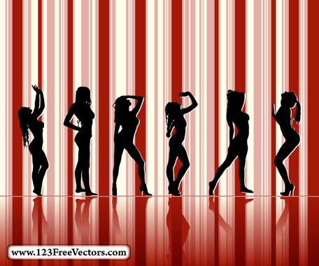 Sexy Girl Silhouettes with Striped Background