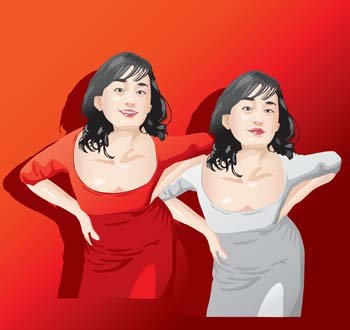 Beautiful girls vector 10