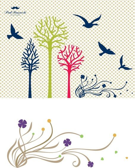 New Free Vector Set: Birds & Trees