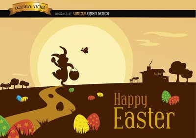 Easter Scene with Silhouette Landscape