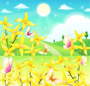 The Outskirts Of Flowers And Butterflies Vector Material Yellow Flower Butterfly