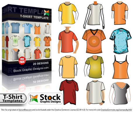 T-shirt modello Free Vector Pack