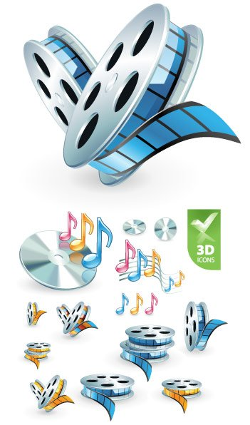 3D audio video icon