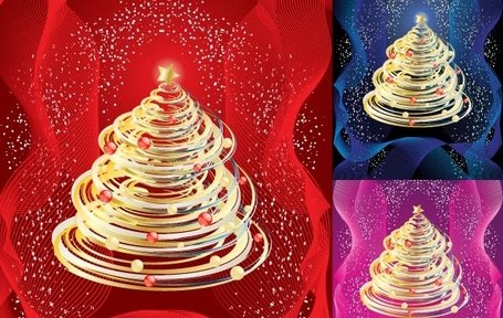Abstract Shinny Christmas Tree Vector Art