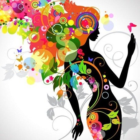 Colorate ragazza floreale Silhouette