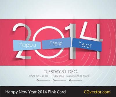Happy New Year-2014-Pink-Card