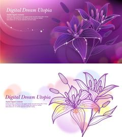 Glowing Full Blossom Lily Background with Waves