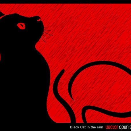 BLACK CAT IN THE RAIN VECTOR BACKGROUND.ai