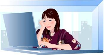 Girls and computer vector 11