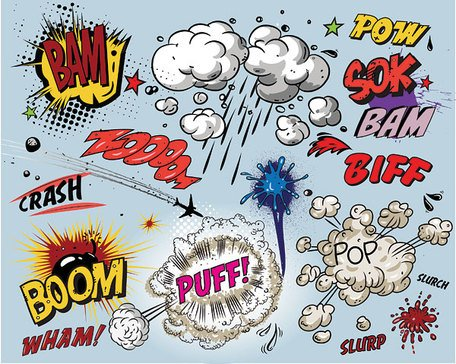 Cartoon-style explosion effect of