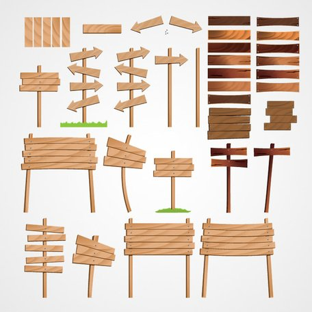 Wood Arrow & Wooden Signs Vector Set (Free)