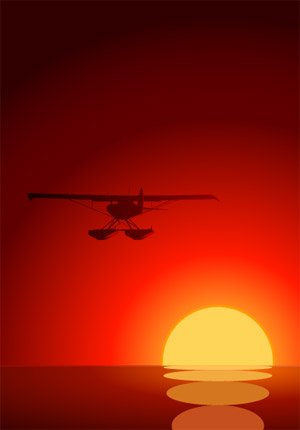 Sunset Vector material under the plane