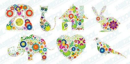 7 lovely flower pattern vector material composed of