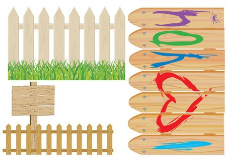 Vector cartoon fence material